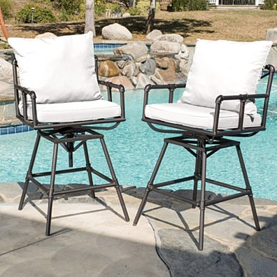 Varick Outdoor Adjustable Iron Barstool with Cushions (Set of 2)