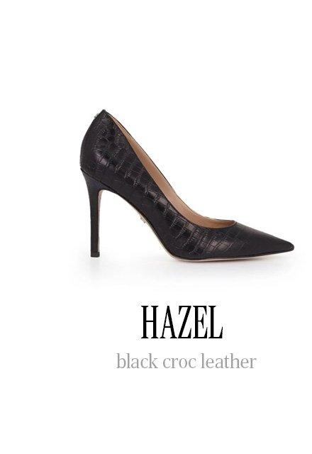 HAZEL black croc leather