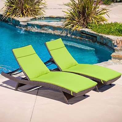 Set of 2 Green Cushion Pads For Outdoor Chaise Lounge Chairs