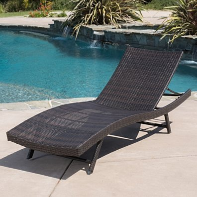 Eliana Outdoor Single Brown Wicker Chaise Lounge