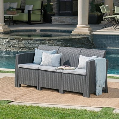 St. Pete Outdoor 3 Seat Faux Wicker Rattan Style Sofa