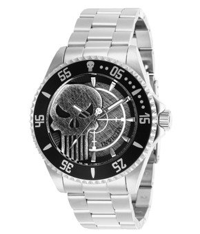 Invicta Marvel Limited Edition Punisher Mens Quartz 44 mm Stainless Steel Case Grey Dial