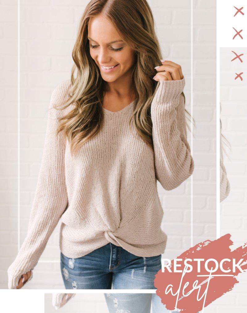 beige twist front sweater