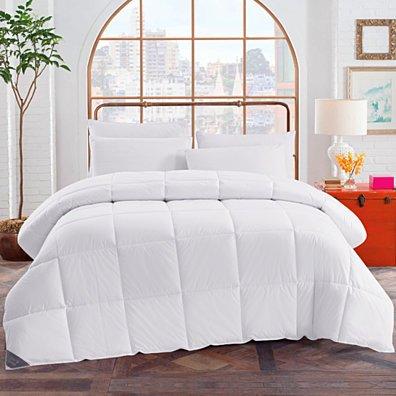 All Season White Down Comforter/Duvet Insert, 100% Cotton 600 Fill Power