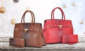 DS Collection Ostrich Leather Satchel Handbag with Wallet