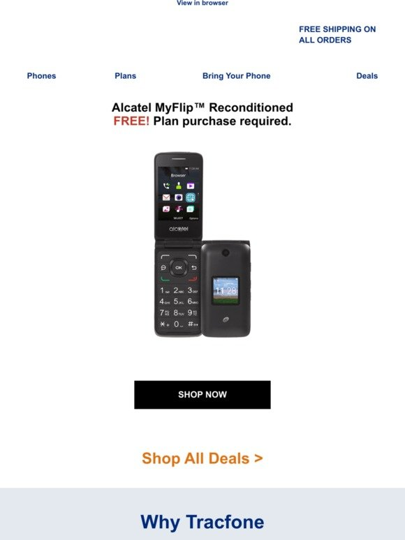 Tracfone Wireless, Inc : Deal of the week  FREE Phone  | Milled