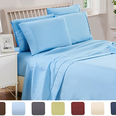 6 Piece Egyptian Quality Premier Collection 1800 Count Deep Pocket Bed Sheet Set
