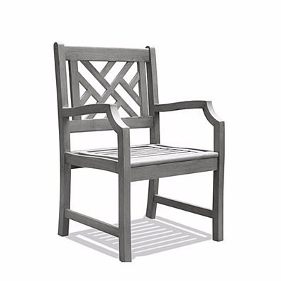 Renaissance Hand-scraped Acacia Patterned Back Outdoor Arm Chair