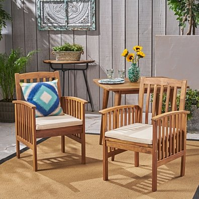 Phoenix Acacia Patio Dining Chairs, Acacia Wood with Outdoor Cushions, (Set of 2)