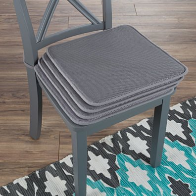 Set of 4 Foam Chair Cushions Pads with Ties Indoor Outdoor Easy Clean 16 x 16 Gray