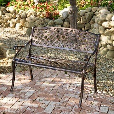 Casablanca Outdoor Copper Cast Aluminum Bench