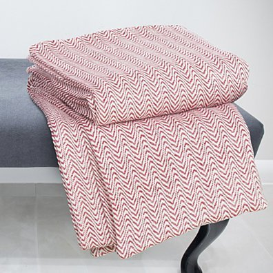 Lavish Home Chevron 100% Cotton Luxury Soft Blanket - Twin - Brick