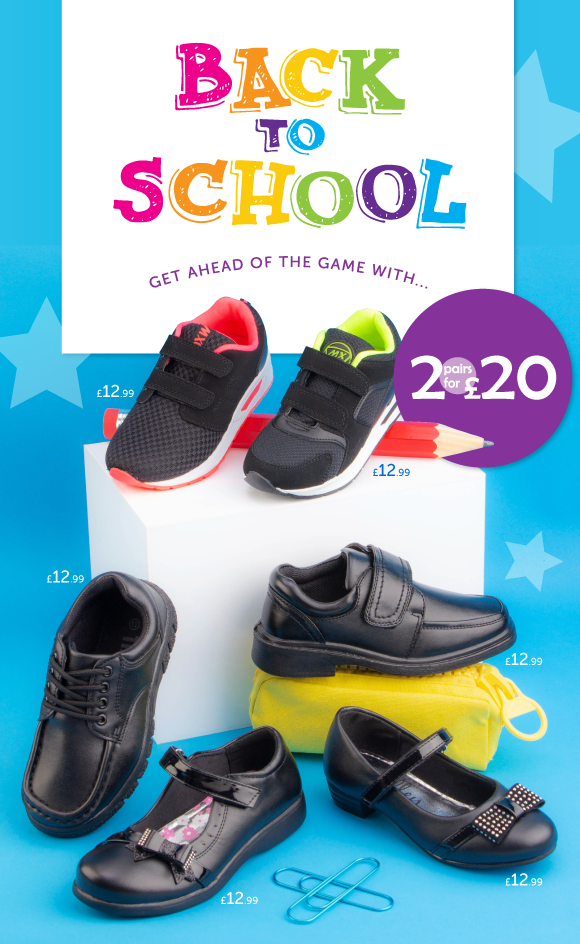 Shoe Zone: Inside: 2 for £20 on school