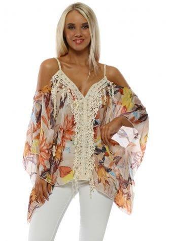 Multi Floral Cold Shoulder Embellished Top