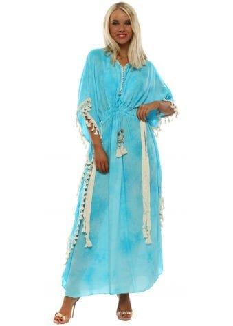 Turquoise Tie Dye Maxi Kaftan Dress