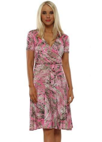 Neon Pink Snakeskin Slinky Wrap Swing Dress