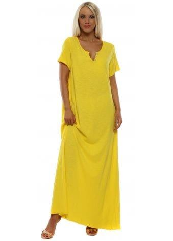 Yellow Cotton Button Neck Maxi Dress