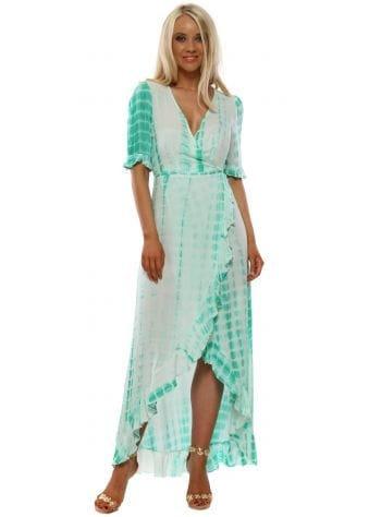Green Tie Dye Wrap Front Frill Dress