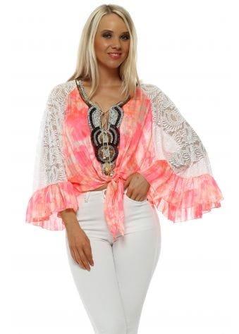 Neon Pink Lace Sleeve Beaded Tie Top