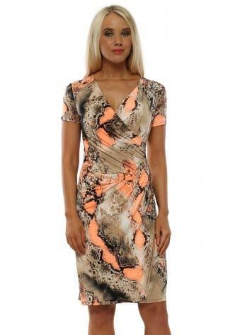 Neon Orange Snakeskin Slinky Wrap Dress