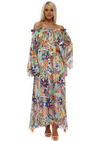 Aqua Multi Chiffon Floral Bardot Maxi Dress