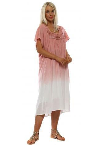 Pink Cotton Tie Dye Smock Dress