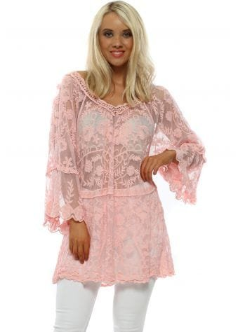 Baby Pink Lace V Neck Top