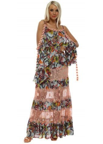 Pink Lace Tiered Crystal Daisy Cold Shoulder Maxi Dress