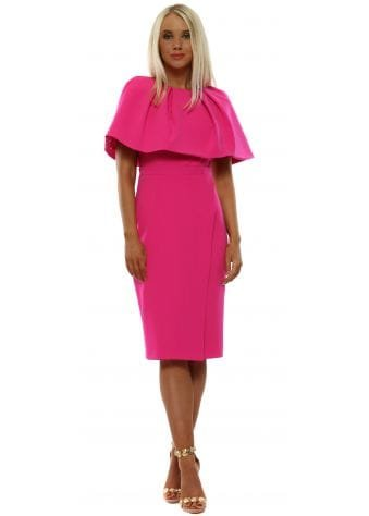 Hot Pink Pleated Cape Rose Dress