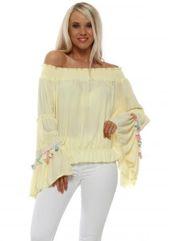 Yellow Tassel Bardot Top