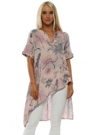 Pink Floral Cotton Asymmetric Tunic Top