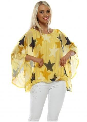 Yellow Star Print Silk Batwing Top