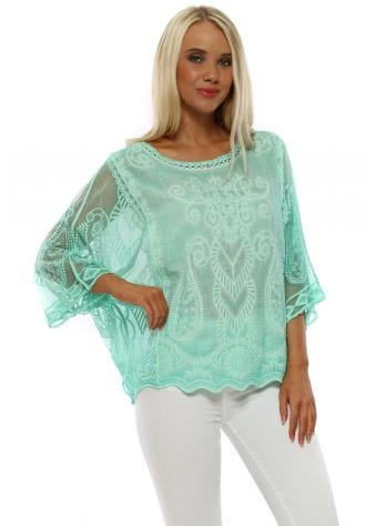 Green Embroidered Tulle Sleeve Top