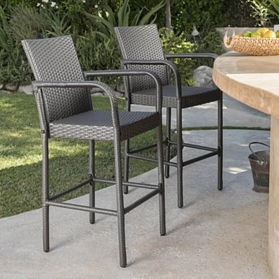 Dunedin 30-Inch Outdoor Grey Wicker Barstools