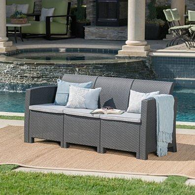 St. Pete Outdoor 3 Seat Faux Wicker Rattan Style Sofa