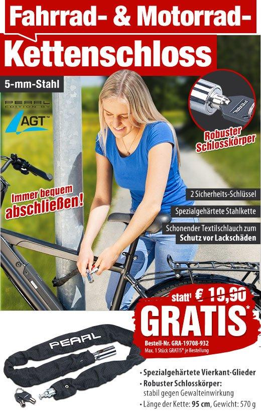 90 cm spezialgehärtet AGT Fahrrad- /& Motorrad-Kettenschloss 6-mm-Kette
