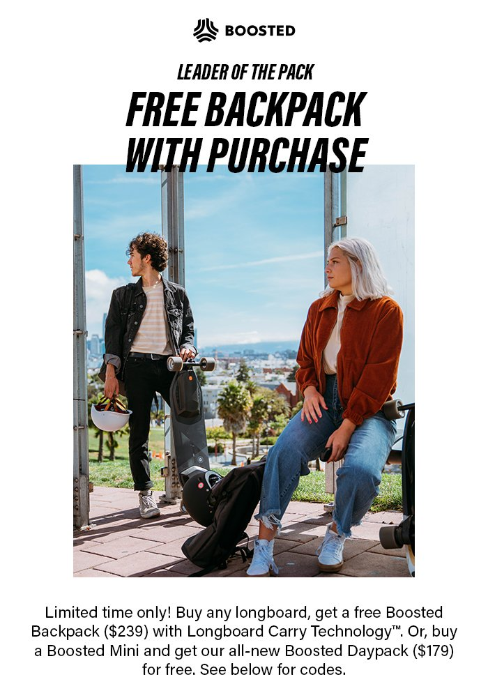 Free Backpack with Board Purchase!