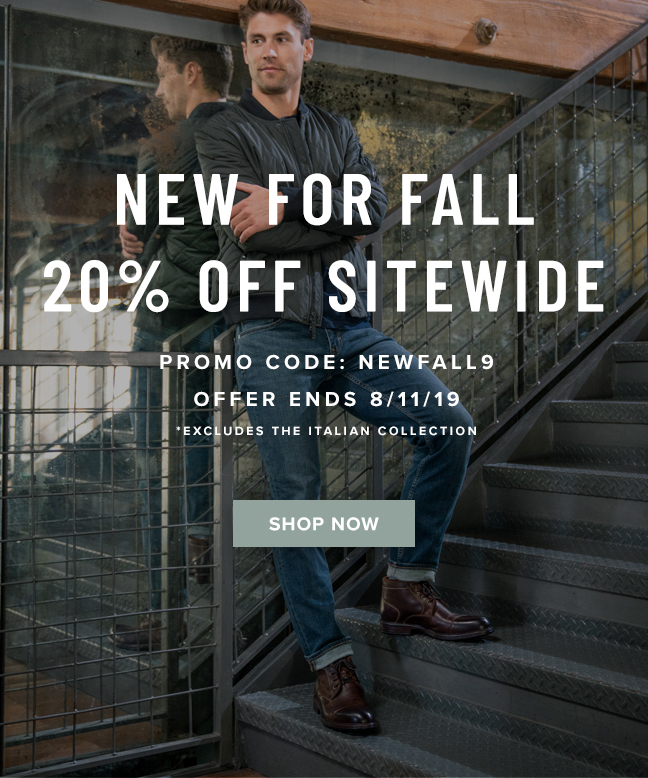 """Get 20% off SITEWIDE with promo code """"NEWFALL9"""" during checkout. Display images to learn more!"""