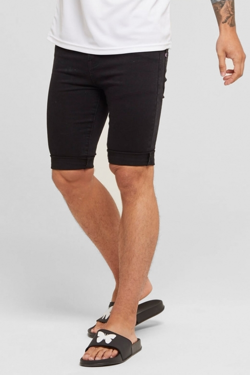 Black Non-Ripped Denim Shorts