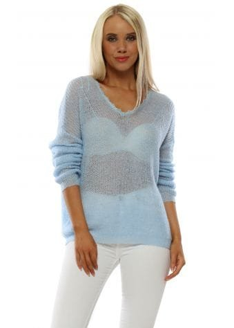 Baby Blue Fine Knit Relaxed Jumper
