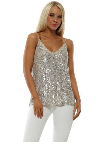 Silver Sequinned Camisole Vest Top