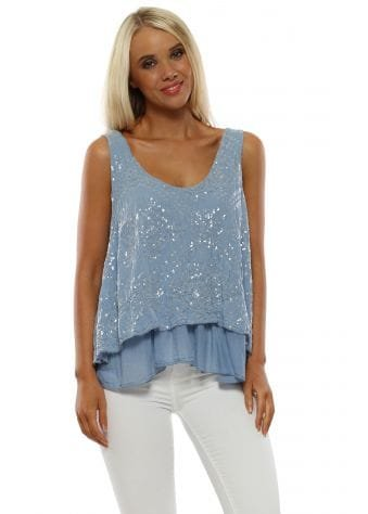 Blue Sequinned Layered Vest Top