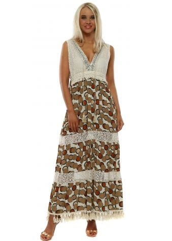 Circle Print Tiered Summer Maxi Dress
