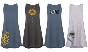Women's Sunflower Tank Dresses. Plus Sizes Available.