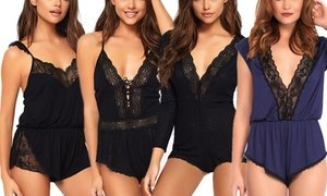 Leg Avenue Women's Brushed Jersey and Lace Rompers