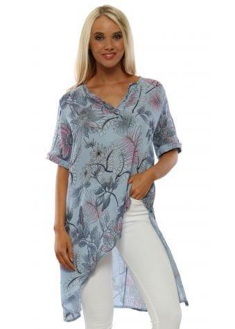 Blue Floral Print Asymmetric Tunic Top