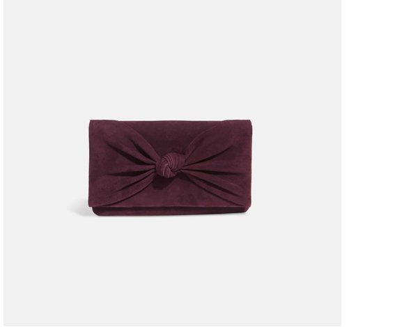 Carrie Knot Suede Clutch