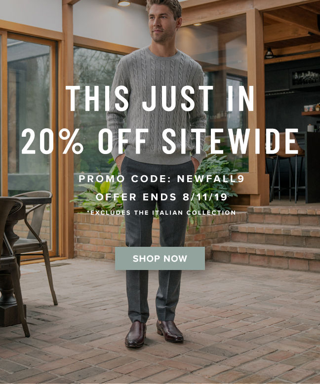 """This just in! Take 20% off sitewide with promo code """"NEWFALL9"""" at checkout. Display images to learn more!"""