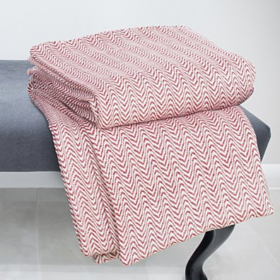 Lavish Home Chevron 100% Cotton Luxury Soft Blanket - King - Brick