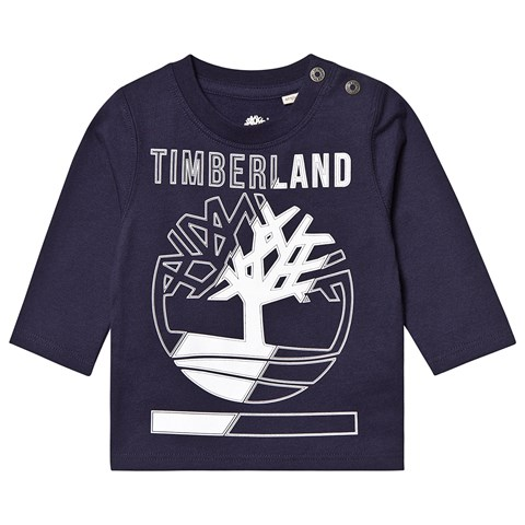 Timberland Navy Timberland and Tree Logo Long Sleeve T-Shirt
